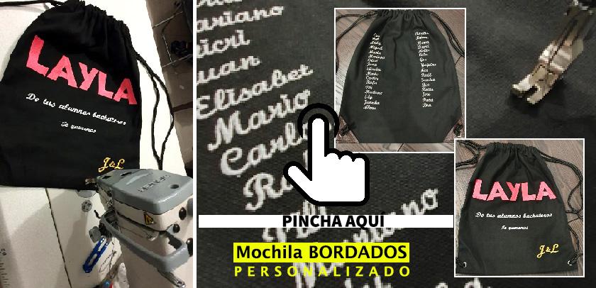 Mochila bolsos personalizado en bordado