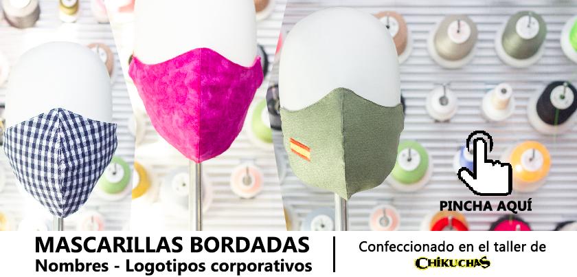 Tapabocas de tela bordadas personalizadas Madrid